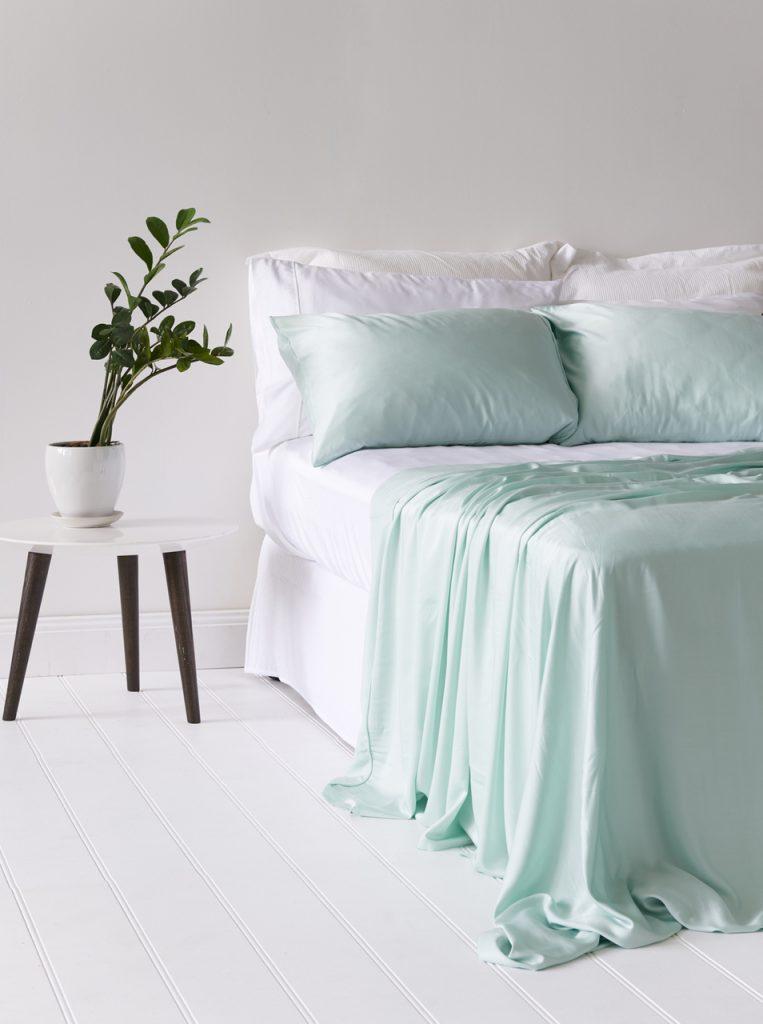 Etitude bamboo sheets organic mint pastel