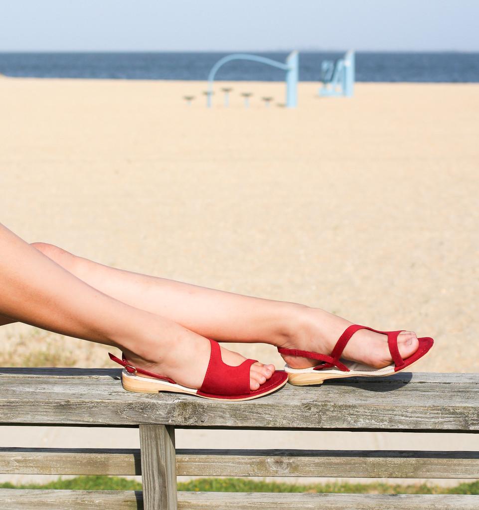 Bhava Sara Assymmetrical sandals red vegan