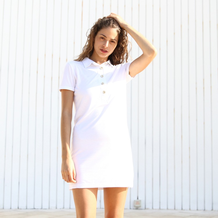Constant Simplicity Polo Dress white bamboo organic