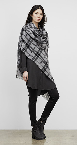 Eileen Fisher Serape Wool Plaid
