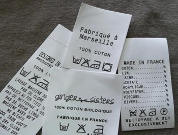 Etiquette Composition textile coton polyester