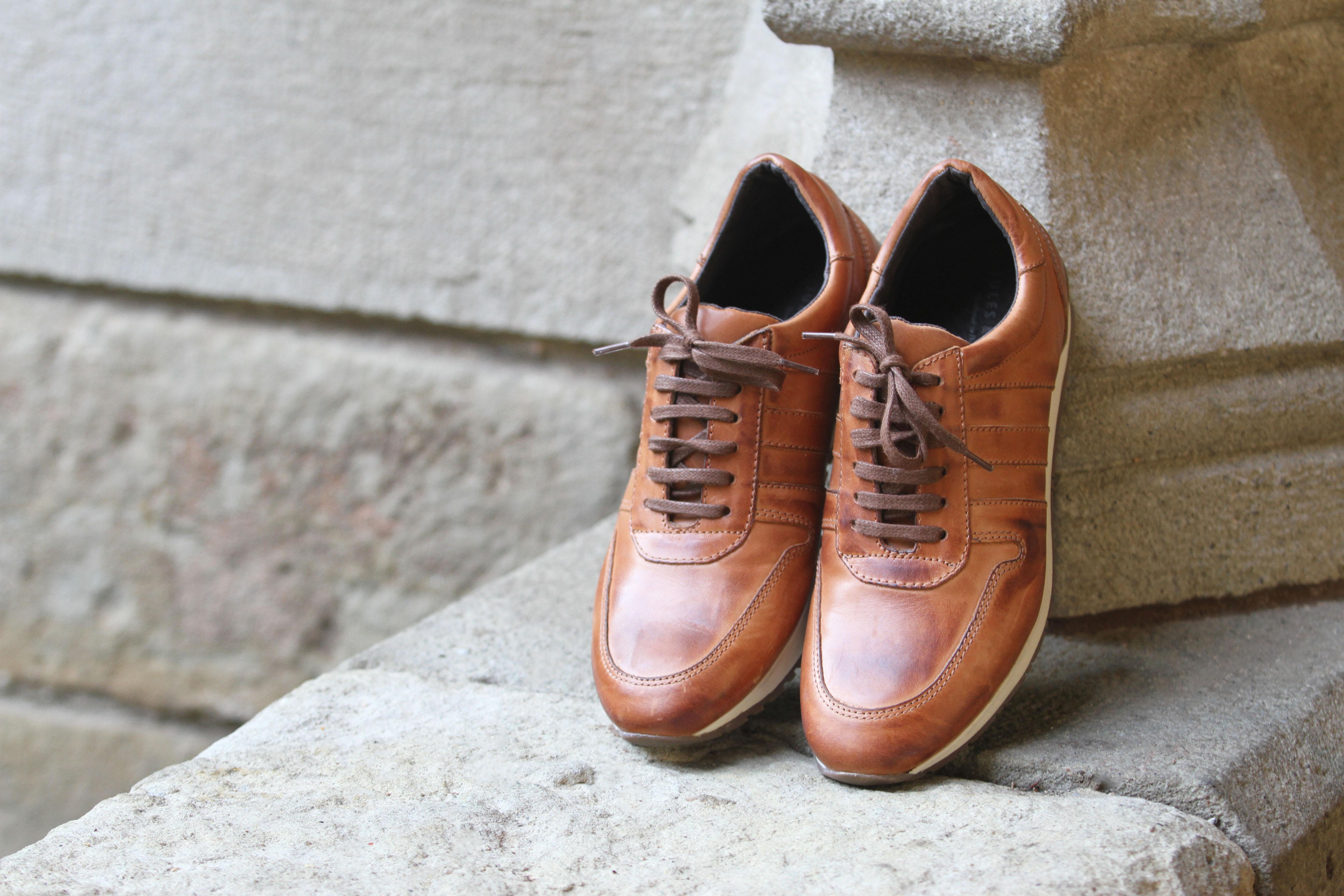 Sneakers cuir cognac